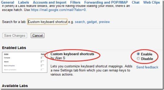 Gmail Custom Keyboard Shortcuts