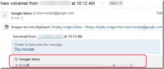 Gmail Google Voice Player