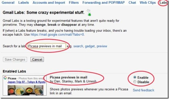 Gmail Picasa preview