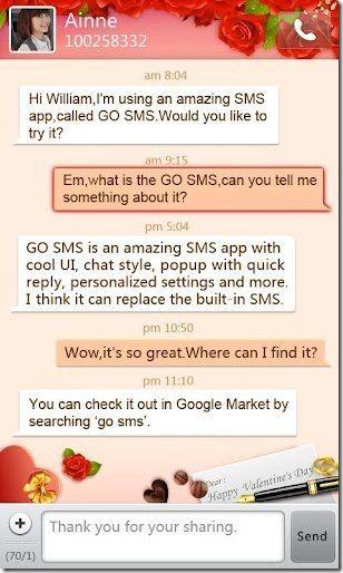 GoSMS Valentine's Day Theme app