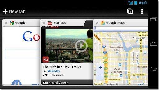 Google Chrome browser tabs