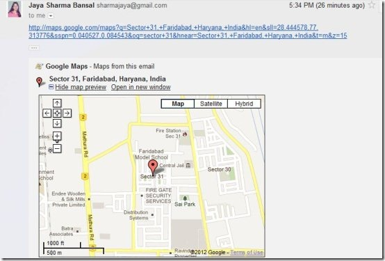 Google Maps Preview in Gmail