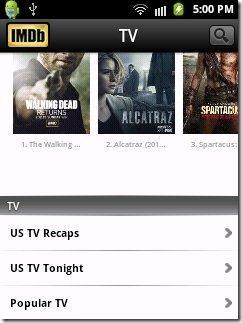 IMDB App TV Shows option