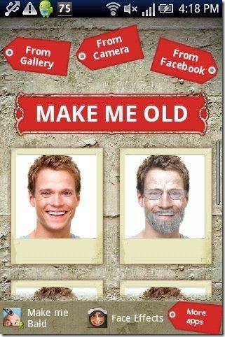 Make Me Old App options