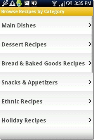 Recipe search categories