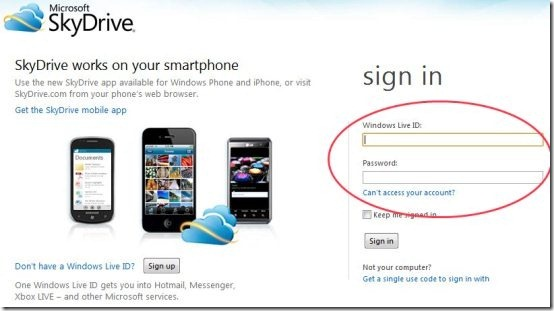 SkyDrive Login