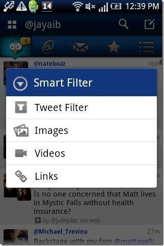 TweetCaster App Smart Filter
