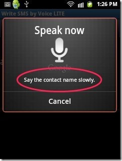 Write SMS By Voice App Contact recognition