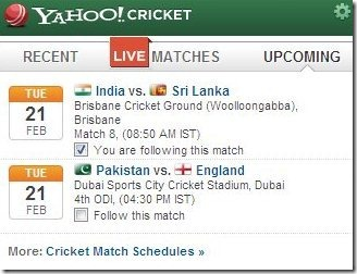 Live Scores on Chrome Browser With Yahoo! Cricket