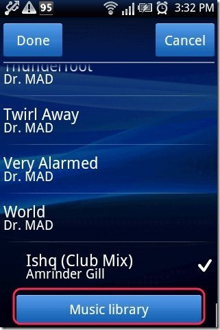 mp3 As Ringtone Android setting Music Library