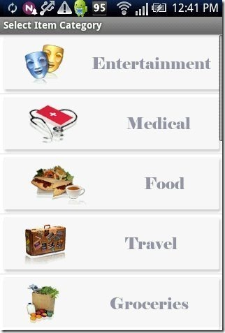 Daily Expense Finanace Manager App categories