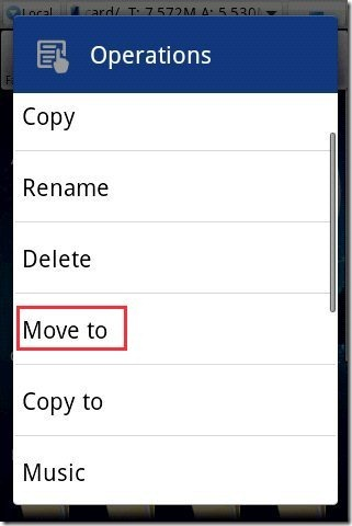 ES File Explorer App Move Options