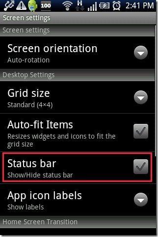 Go Launcher EX App hide status bar