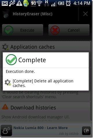 HistoryEraser App Execute