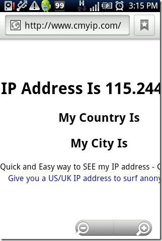 IP Address Android GPRS