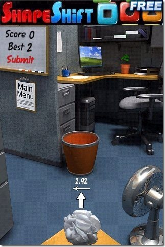 Paper Toss interface