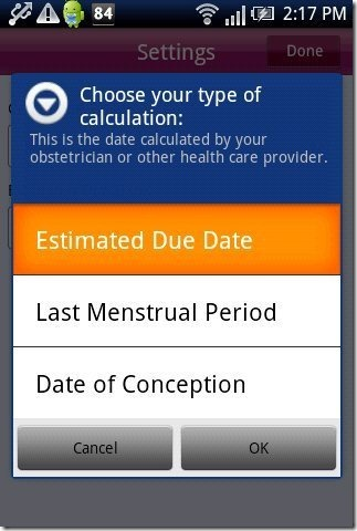 Pregnancy Tracker App Calculation type