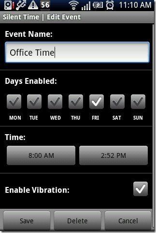 Silent Time Lite App Adding Event