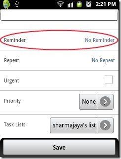 Task N Todos App reminder option