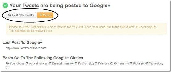 post tweets to Google  4