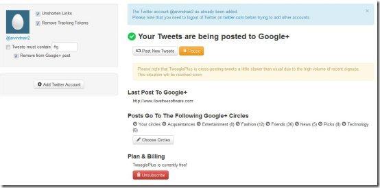 post tweets to Google