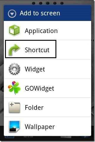 Android Shortcut option