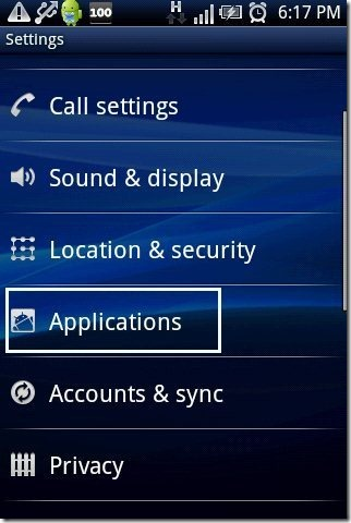 Android application option