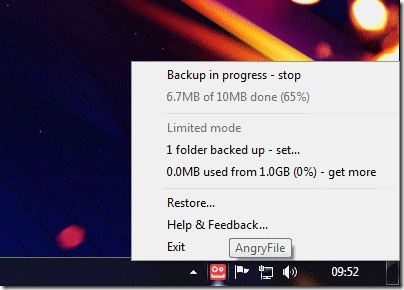 free online backup AngryFile Right Click