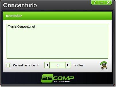 Concenturio Reminder Window