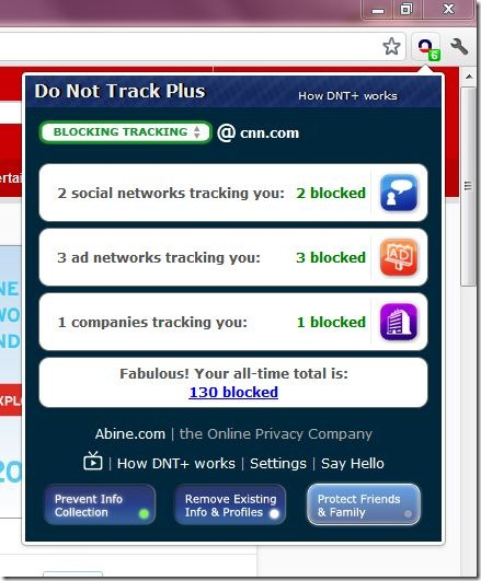 Do Not Track Plus Blocked Details