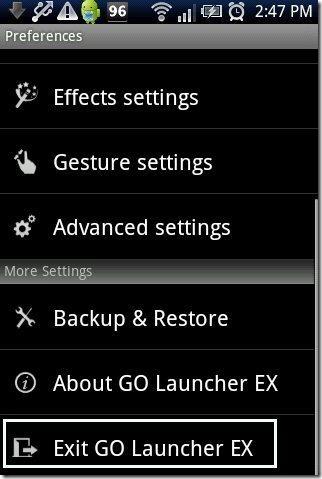 Exit Go Launcher