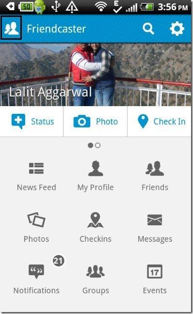 FriendCaster App Home
