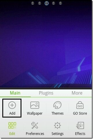 Go Launcher Add Option