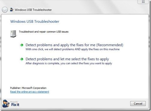 Microsoft USB Fix It