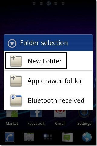 New Folder Option