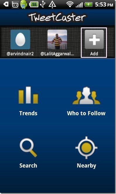 TweetCaster App Add button