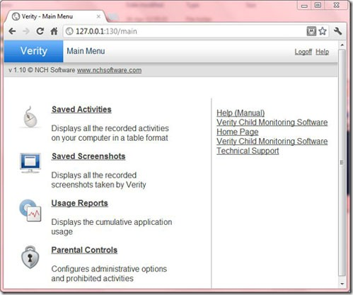Verity Child Monitoring Software Main Menu