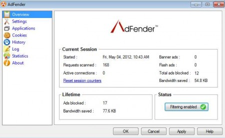 AdFender blocked ads stats