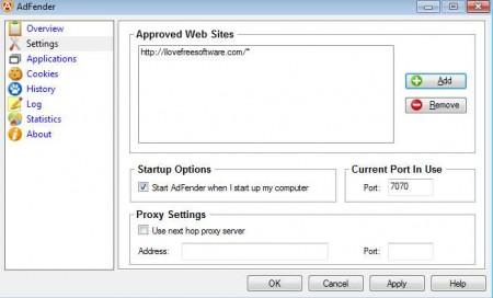 AdFender settings