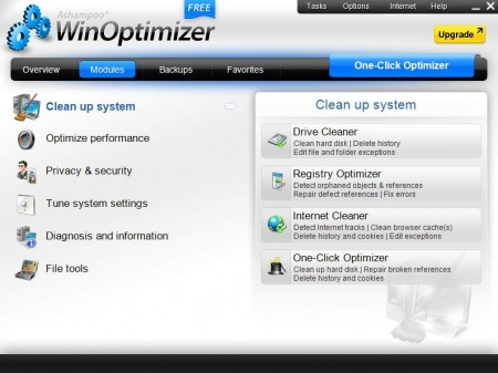 Ashampoo WinOptimizer tools