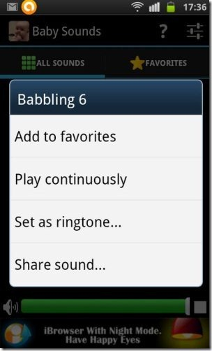 Baby Sounds App options