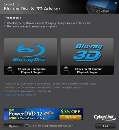 Blu Ray 3D tester