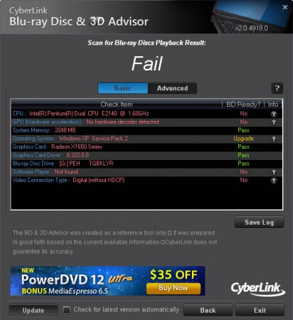 Blu Ray test results