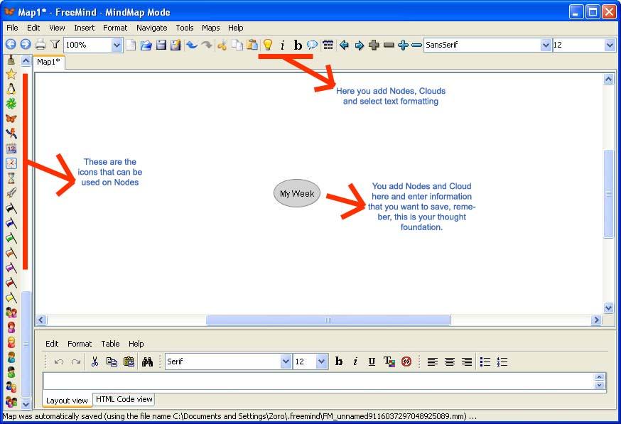 FreeMind default window