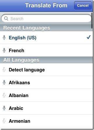 Google Translate languages