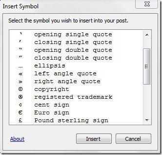 Insert Symbol