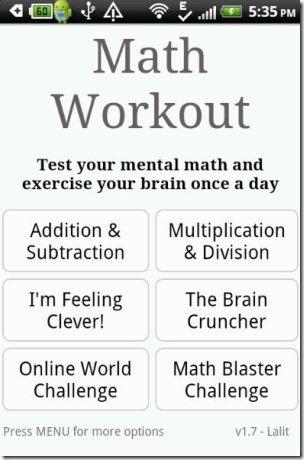 Math Workout Exercises