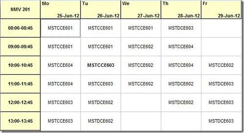 Mimosa Timetable