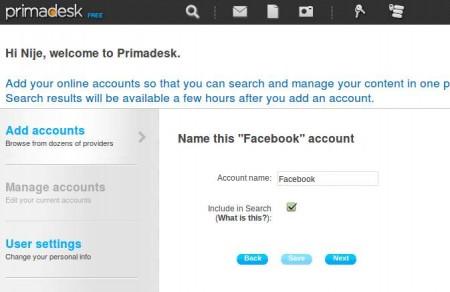Primadesk add account