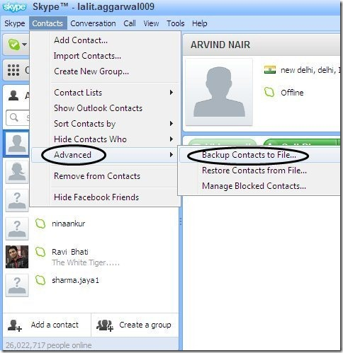 Skype Contacts backup